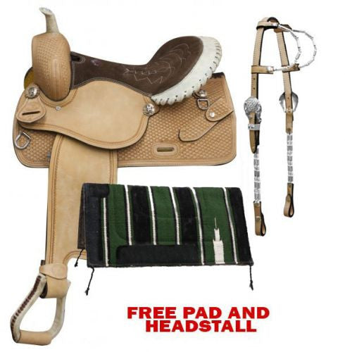 Double T Cow Leather Barrel Style Saddle - 356P