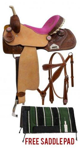 Double T Saddle Set With Pink Suede Cowgirl Up Seat - 6572P