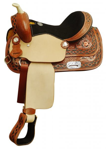 Double T Youth Saddle With Diamond Tooled Border - 515413
