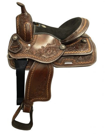 Double T Youth Saddle With Floral Tooling - 667413