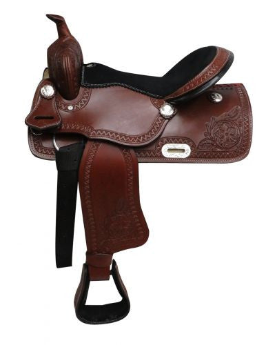 "16"" Economy Style Western Saddle With Floral Tooling - 3264"