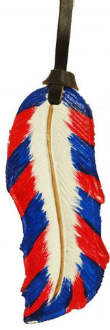 Painted Leather Tie On Feather - 175788