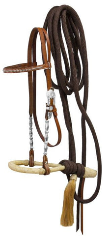 Showman Bosal Headstall With Nylon Mecate Reins - 12963