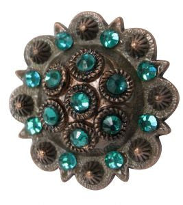 Showman Concho With Teal Rhinestones - 7158