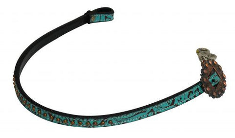 Showman Copper Studded Filigree Print Wither Strap - 19164