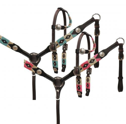 Showman Embroidered Headstall With Collar Set - 13563