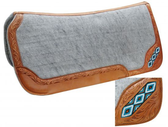 Showman Felt Bottom Saddle Pad With Beaded Inlay - 6286