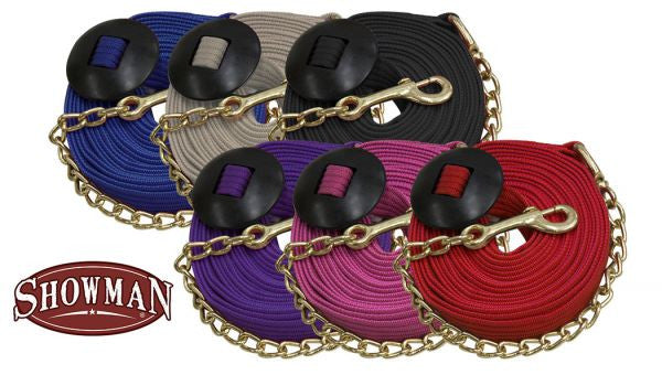 Showman Flat Cotton Web Lunge Line With Brass Chain - 522035
