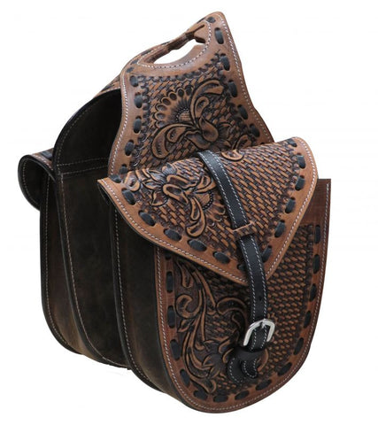 Showman Floral And Basket Weave Tooled Leather Horn Bag - HB-05