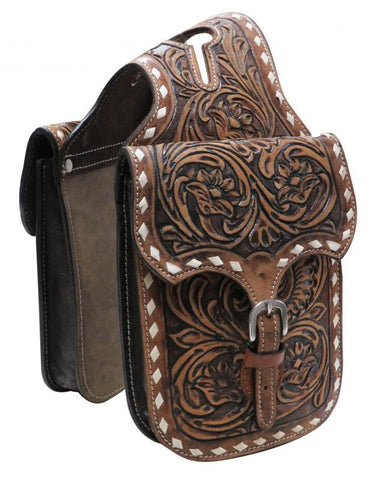 Showman Floral Tooled Leather Horn Bag - HB-06