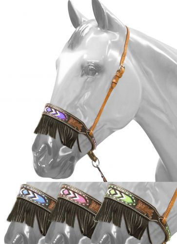 Showman Leather Noseband With Beaded Inlay And Suede Fringe - 16043