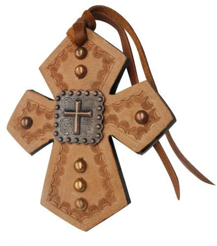 Showman Leather Tie On Cross With Raised Cross - 175548
