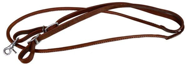 Showman One Piece Leather Rolled Middle Roping Rein - 5647