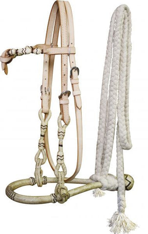 Showman Rawhide Core Show Bosal With Cotton Mecate Rein - 3309