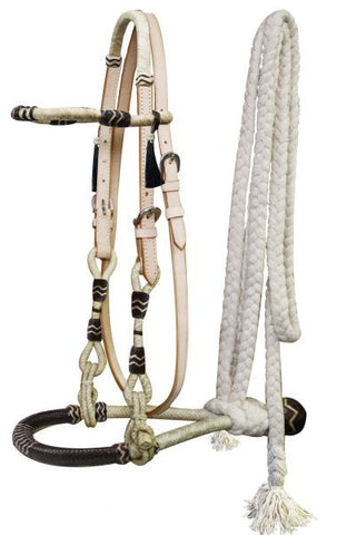 Showman Rawhide Core Show Bosal With Cotton Mecate Rein - 3312