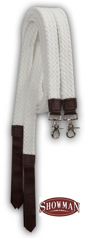 Showman White Cotton Split Reins - 525055