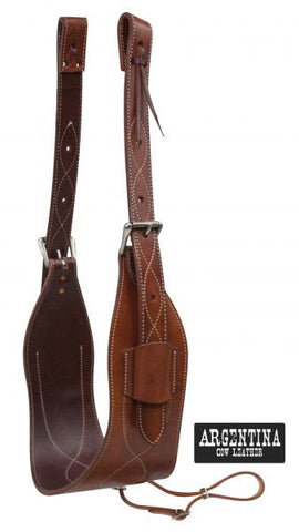 "Showman 7"" Wide Contoured Argentina Cow Leather Back Cinch - 14449"