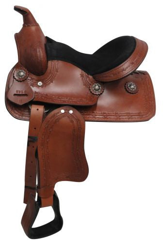Showman Youth Saddle With Barbed Wire Design - 671412
