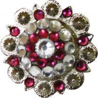 Showmman Silver Concho With Pink Rhinestones - 7129
