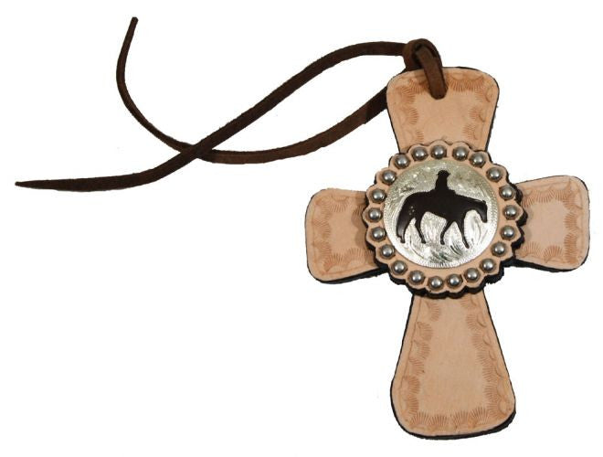 Tie On Leather Cross With Horse Concho - 4862