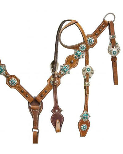Showman Headstall and Breast Collar Set - #7357