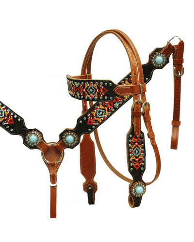 Showman Headstall and Breast Collar Set - #8037