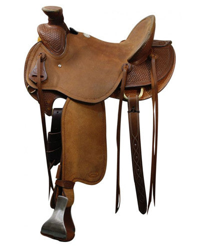 Showman Saddle with Braided Basket Weave Tooling - #512