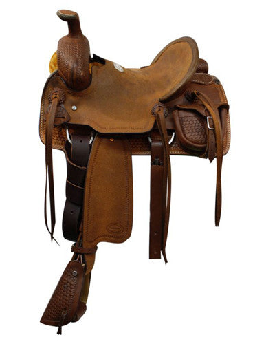 Showman Youth Saddle with Basket Weave Tooling - #51212H