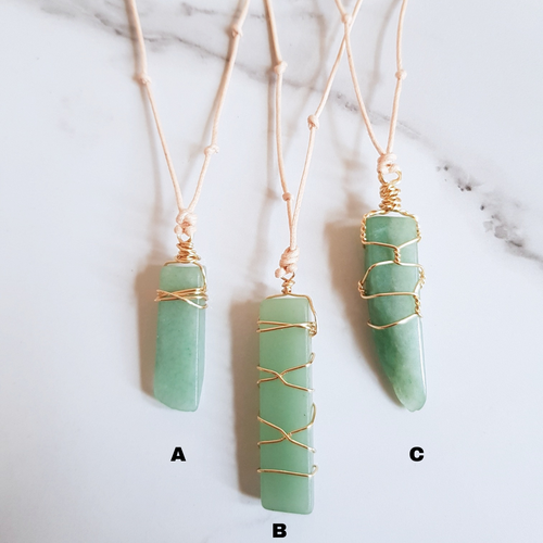 Natural Cord Pendant Necklaces Green Aventurine