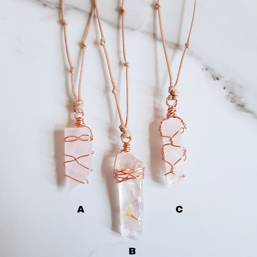 Natural Cord Pendant Necklaces - Rose Quartz