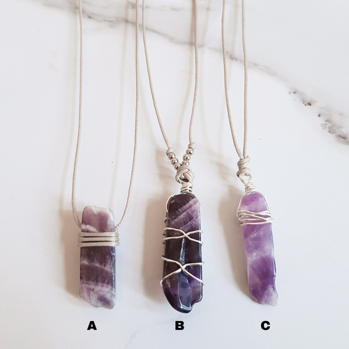 Natural Cord Pendant Necklaces - Amethyst
