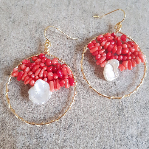 Harrison Hoop Earrings- Coral