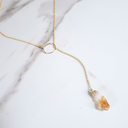 Lariat Necklace - Citrine (OAK)