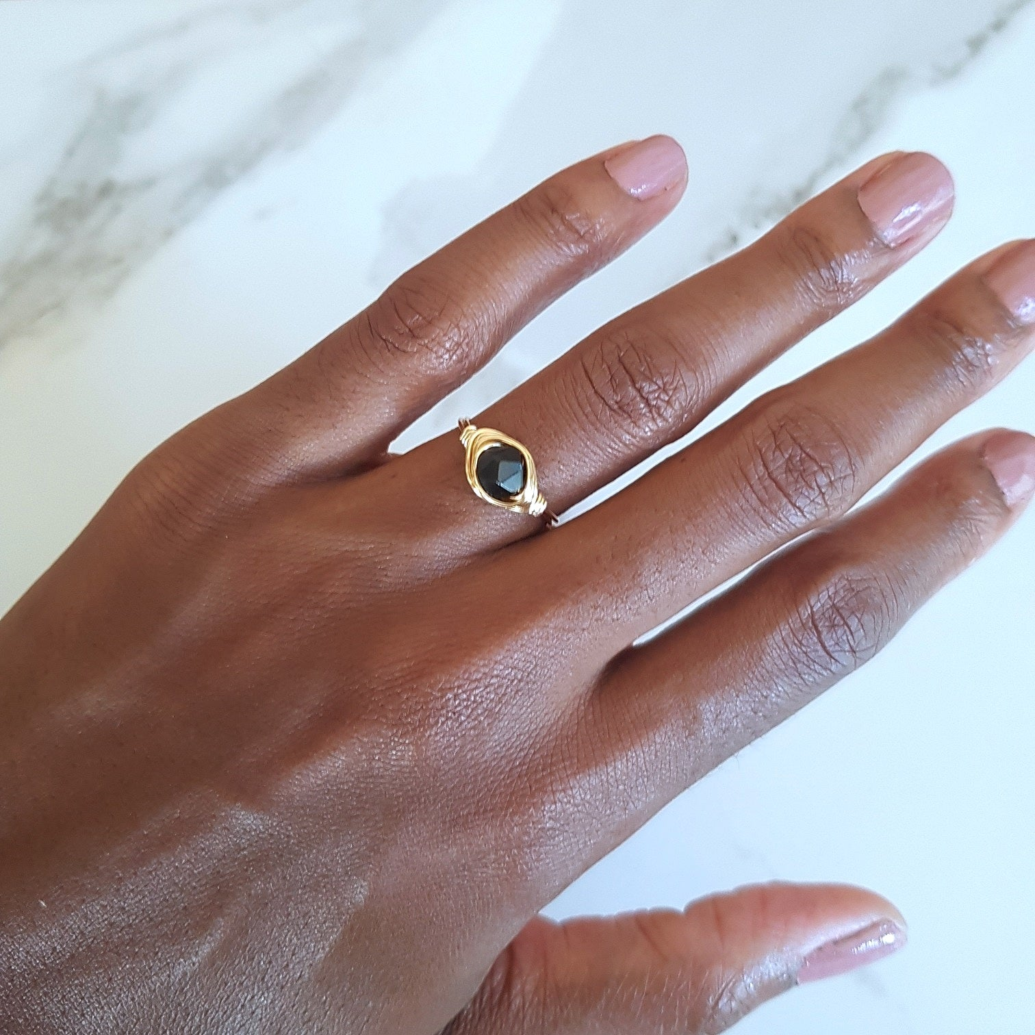 Moon Ring - Black Obsidian