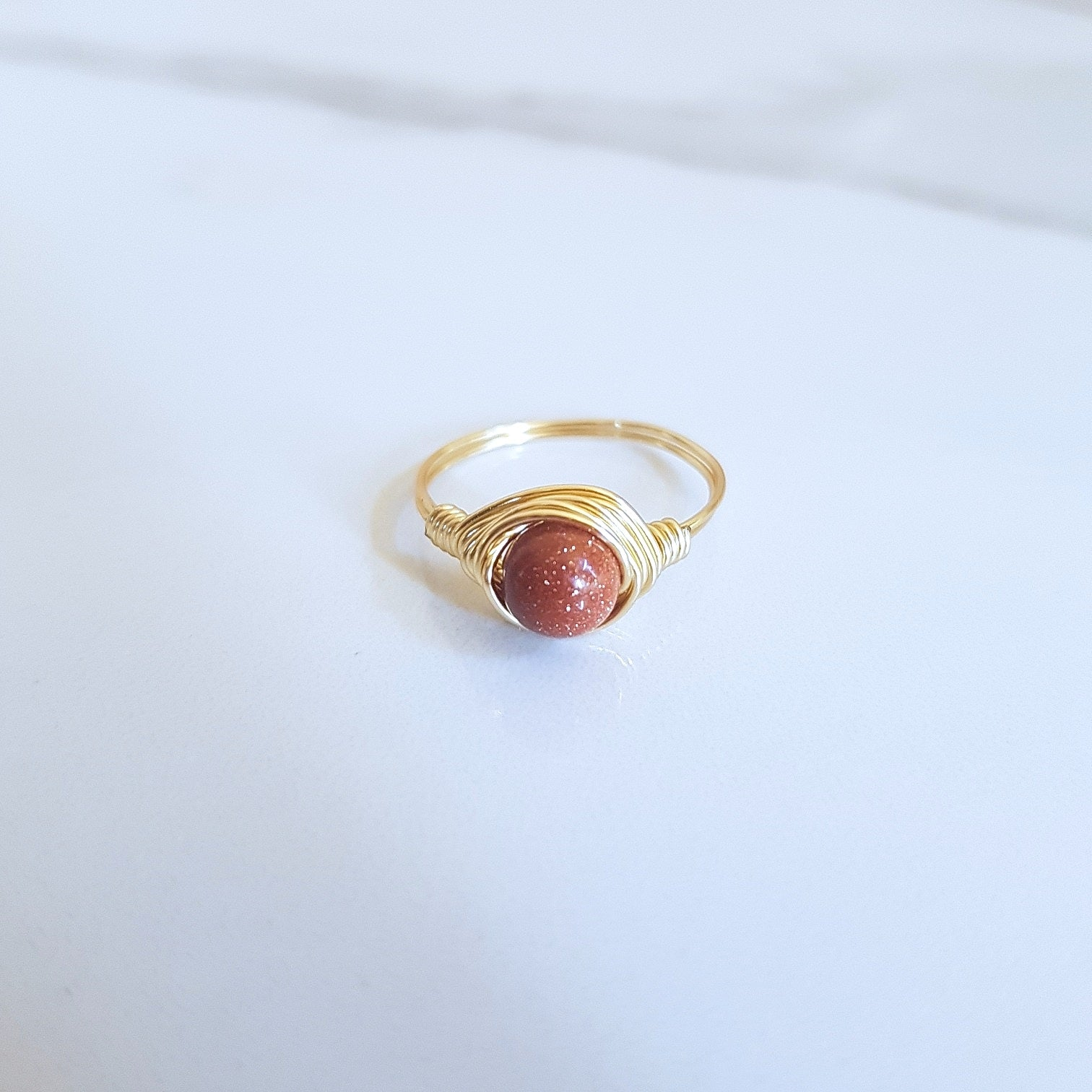 Moon Ring - Goldstone