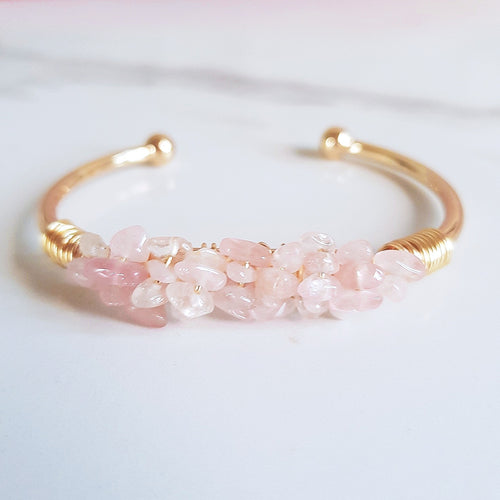 Mermaid Cuff- Rose Quartz