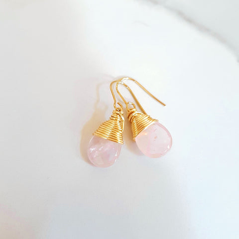 Love Studs - Rose Quartz