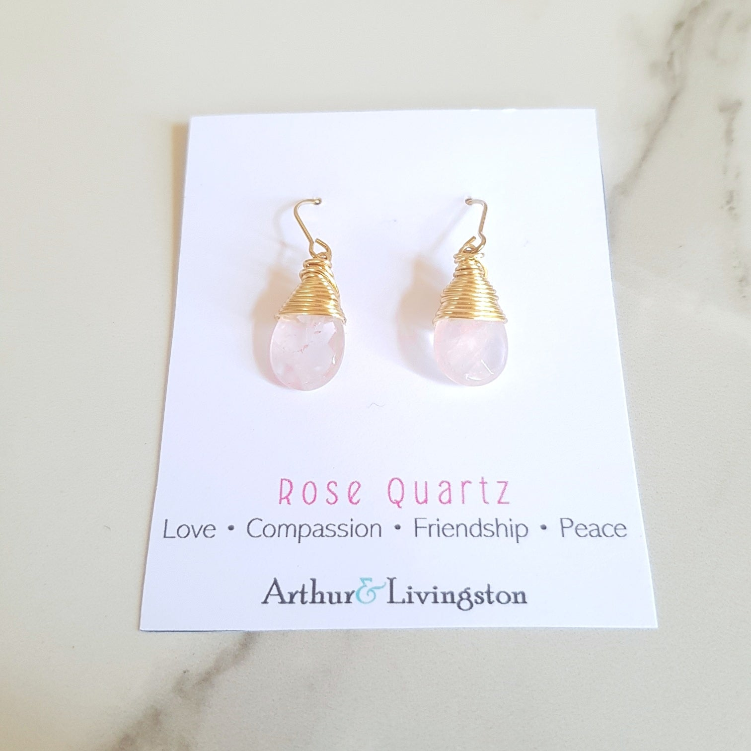 XO Earrings - Rose Quartz