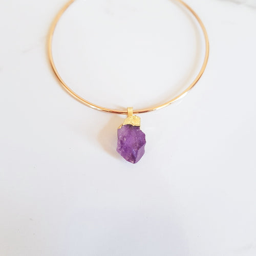 Charm Bangle - Raw Amethyst