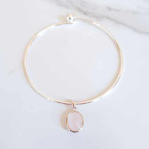 Charm Bangle - Rose Quartz