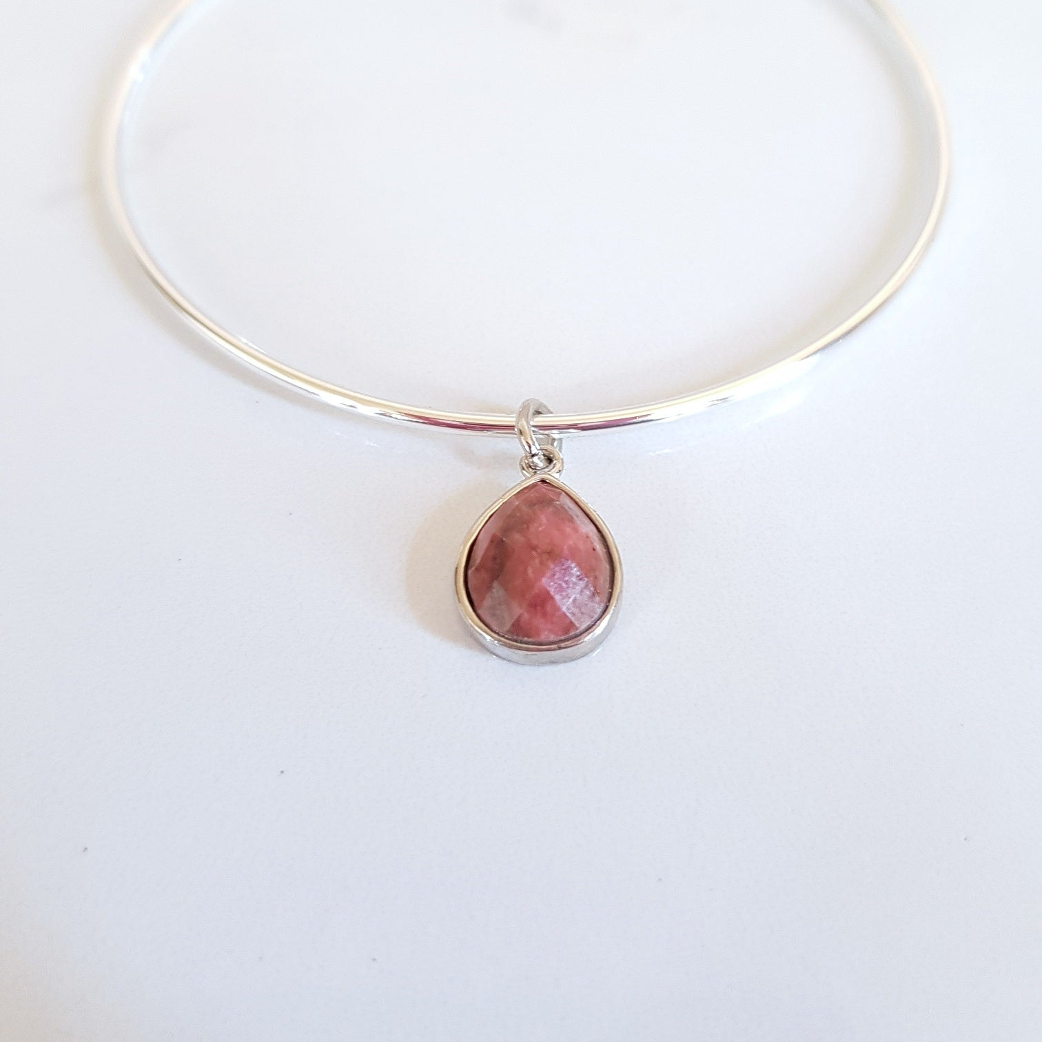 Charm Bangle - Rhodonite