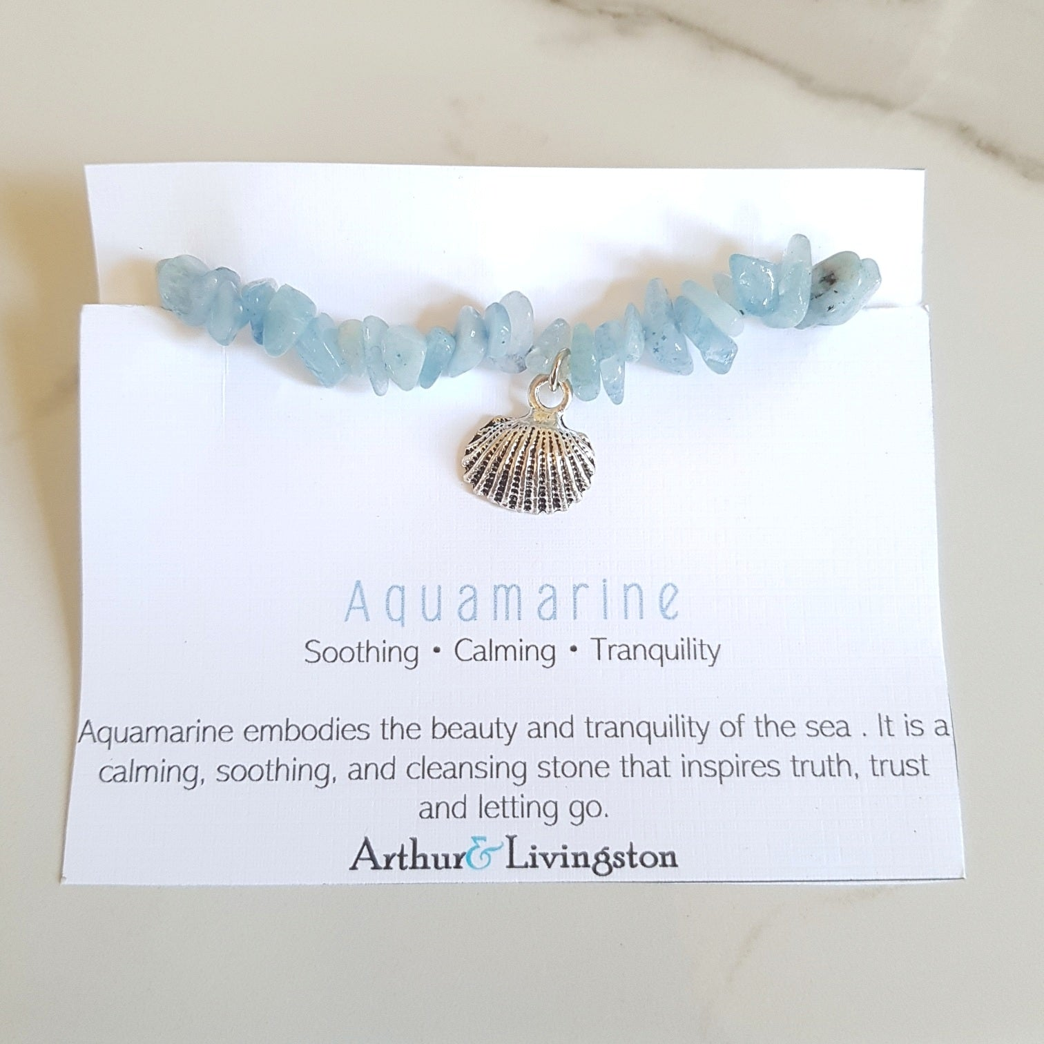 Charm Stretch Bracelet - Aquamarine