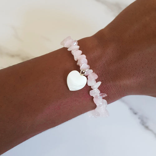 Charm Stretch Bracelet - Rose Quartz