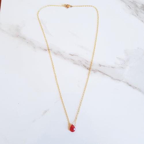 Drew Dainty Necklace - Red Jade