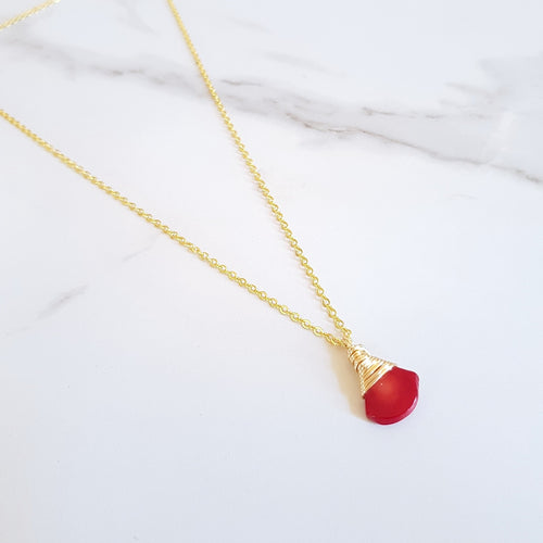 May Dainty Necklace - Red Coral