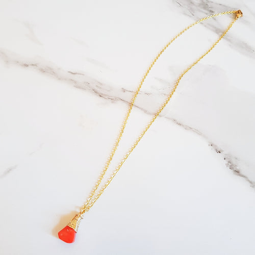 May Dainty Necklace - Orange Coral