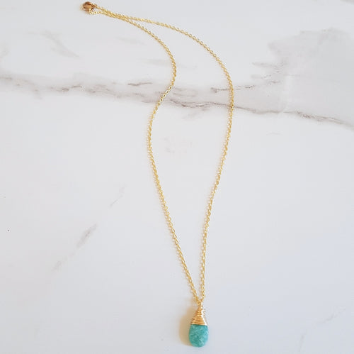 Peace Dainty Necklace - Amazonite