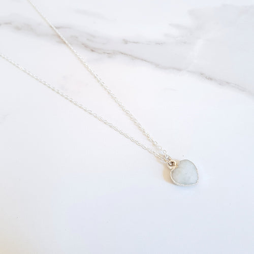 Heart Dainty Necklace - Aquamarine