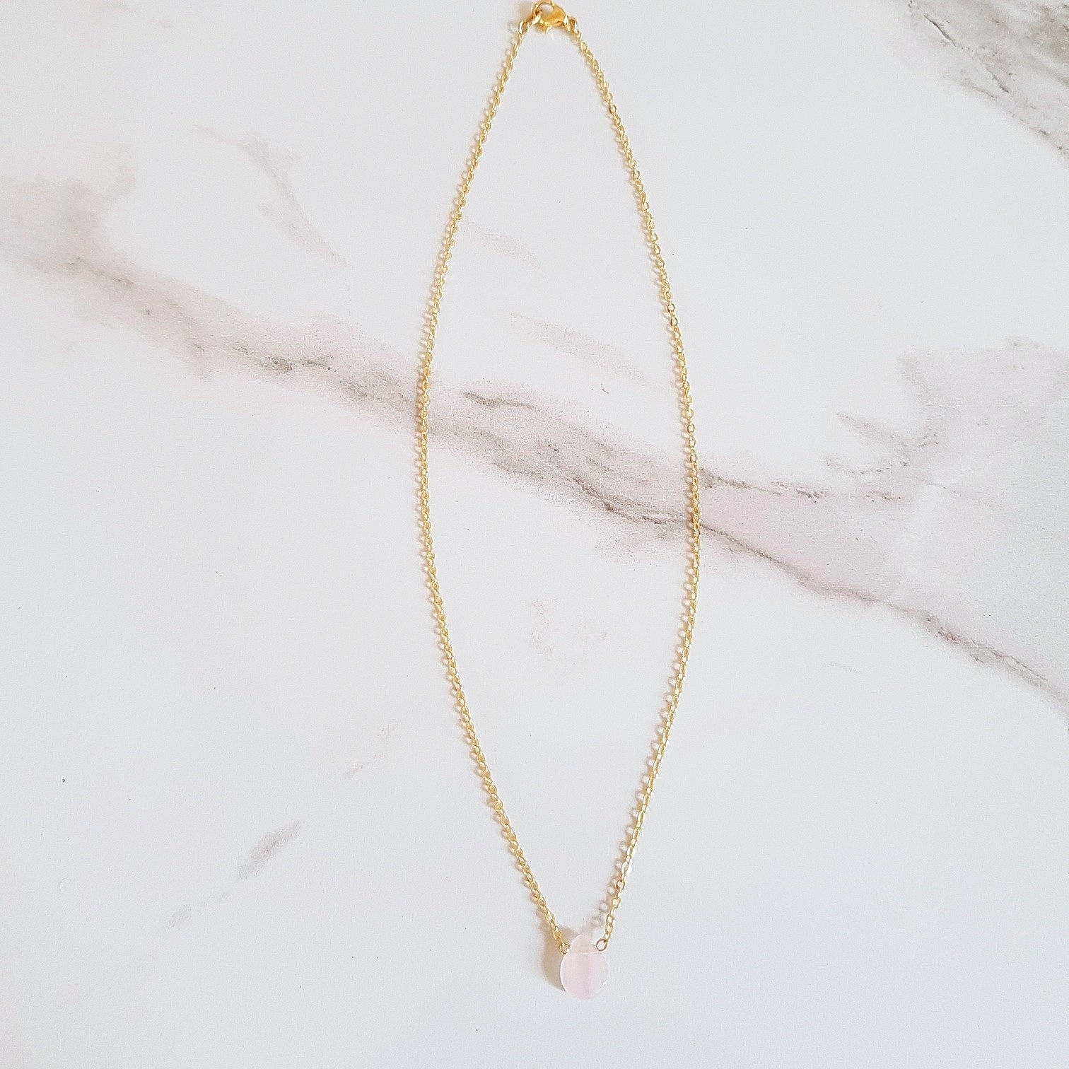 Heart Dainty Necklace - Rose Quartz