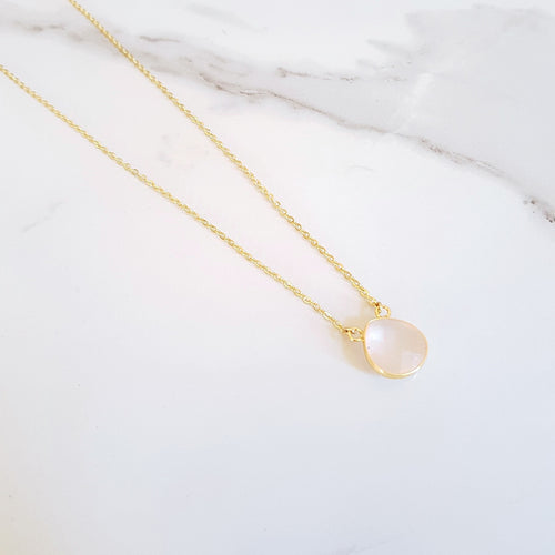 Beat Dainty Necklace - Rose Quartz